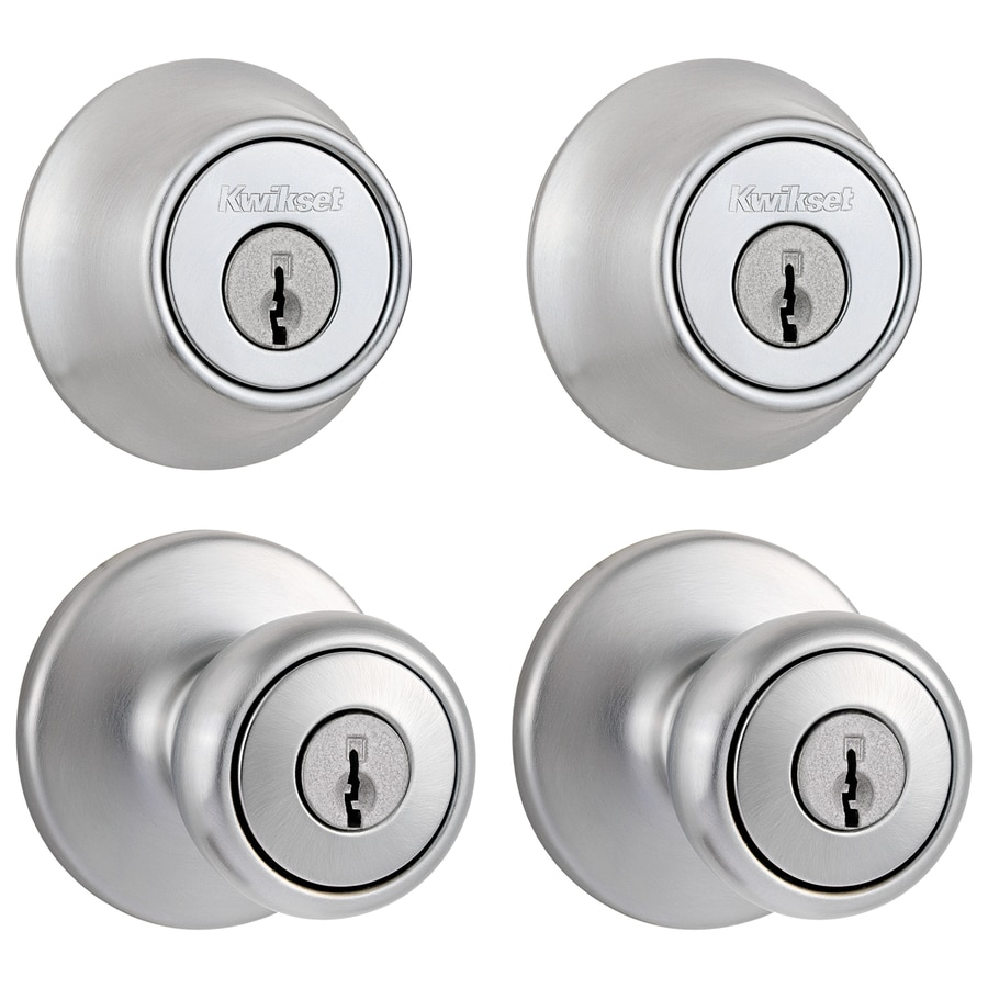 Shop kwikset tylo satin chrome tulip keyed entry door knob for Exterior door knobs