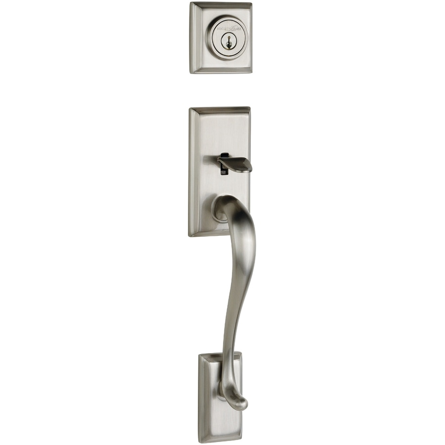 Shop Kwikset Hawthorne Adjustable Satin Nickel Entry Door Exterior Handle At