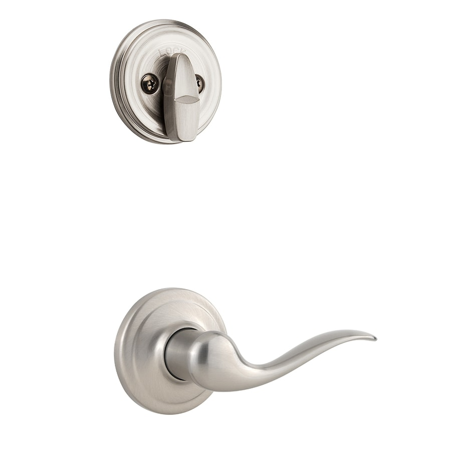 Kwikset Tustin 1-3/4-in Satin Nickel Single Cylinder Lever Entry Door Interior Handle