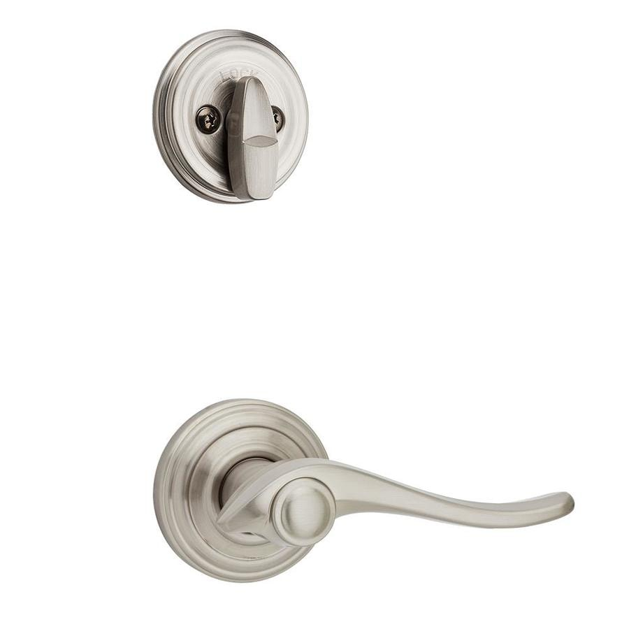 Kwikset Avalon 1-3/4-in Satin Nickel Single Cylinder Lever Entry Door Interior Handle