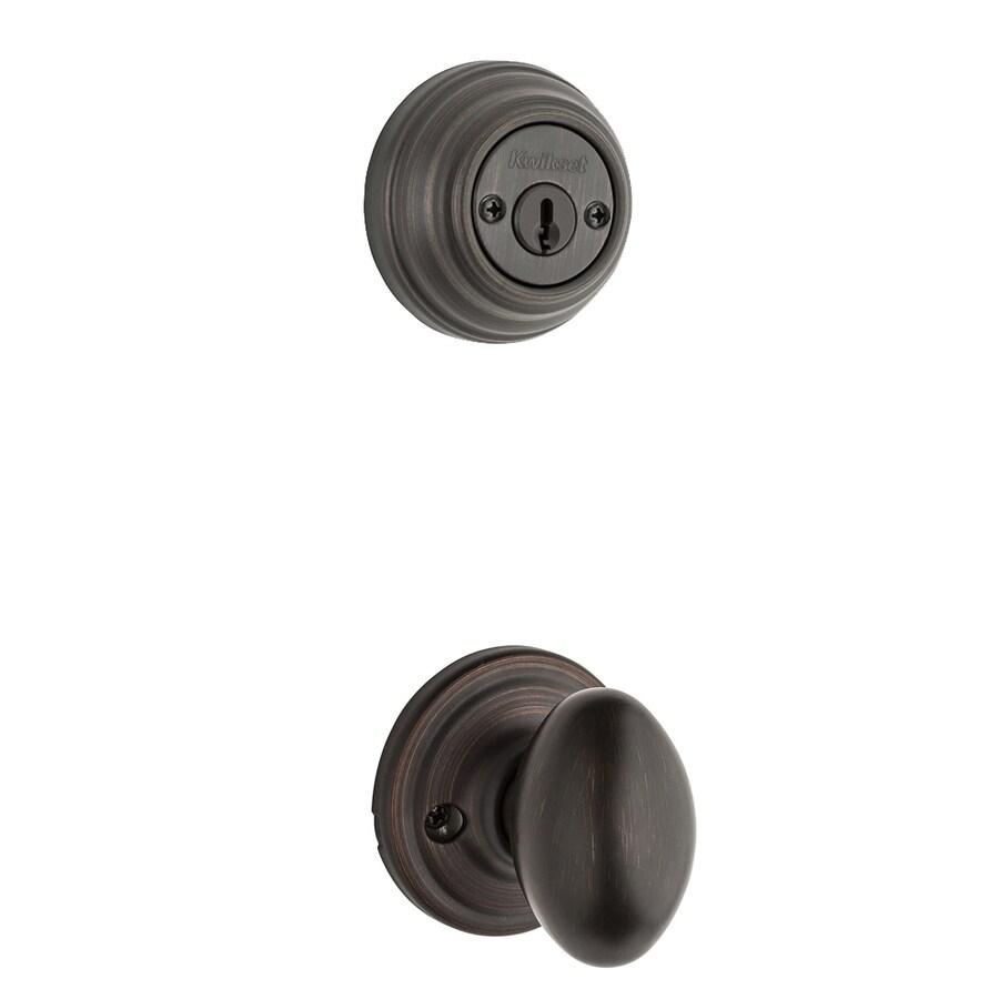 Kwikset Laurel 1-3/4-in Venetian Bronze Double Cylinder Knob Entry Door Interior Handle
