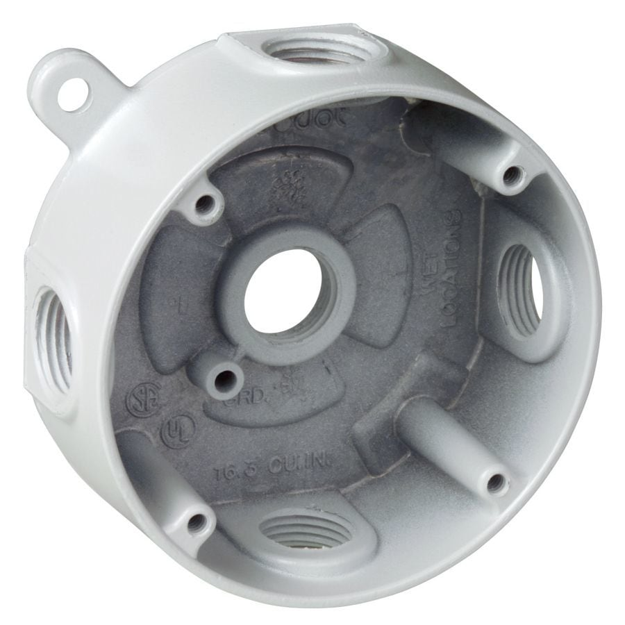 REDDOT White Metal Weatherproof Exterior/Interior New Work/Old Work Standard Round Celing/Wall Electrical Box