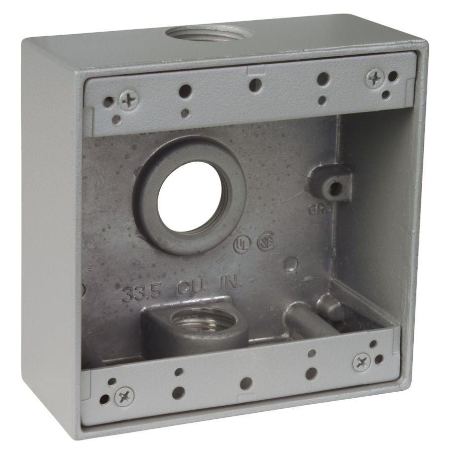 REDDOT 2-Gang Silver Metal Weatherproof Exterior/Interior New Work/Old Work Standard Square Wall Electrical Box