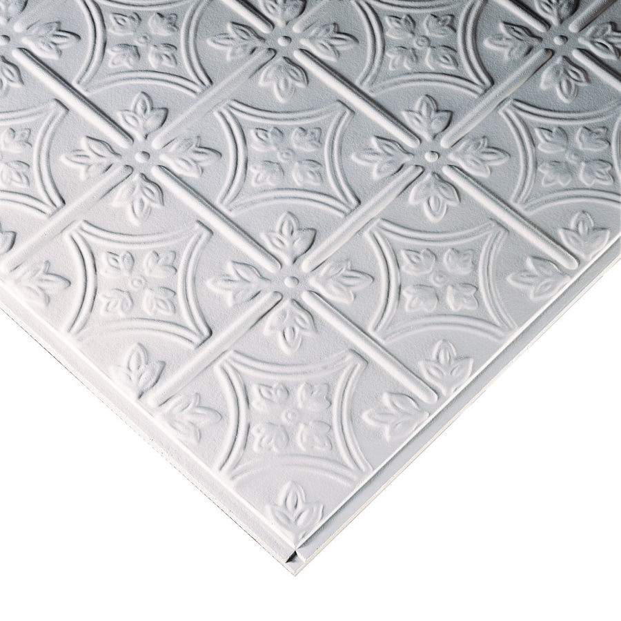 Armstrong Tincraft Homestyle 12-Pack White Patterned 15/16-in Drop Acoustic Panel Ceiling Tiles (Common: 24-in x 24-in; Actual: 23.73-in x 23.73-in)