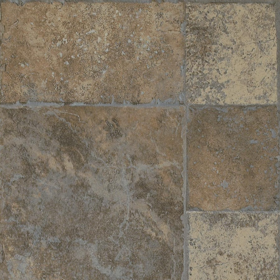Armstrong Stone and Ceramics 15.94-in W x 3.98-ft L Random Block Pewter Tile Look Laminate Flooring
