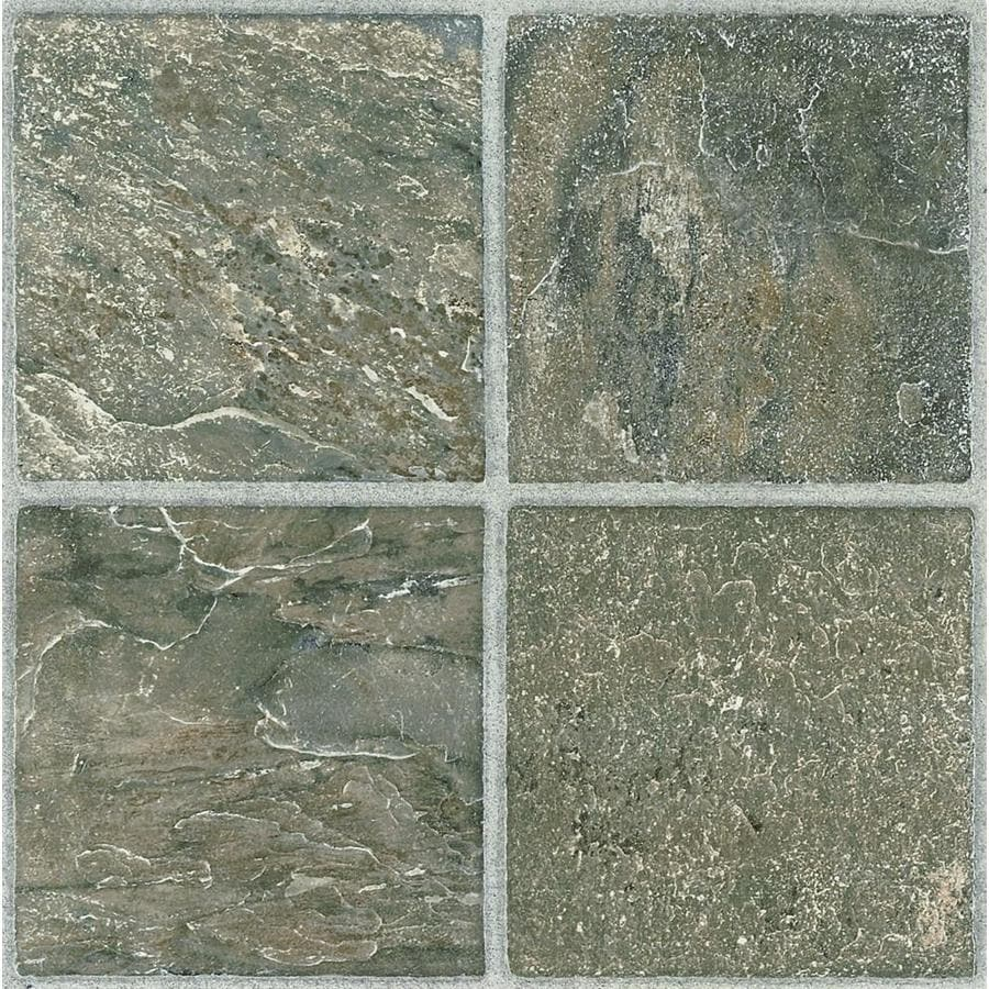 Shop style selections 12 in x 12 in tumbled stone peel and for Cheap vinyl floor tiles
