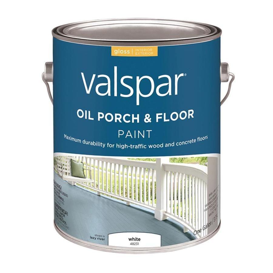 Shop Valspar Porch And Floor White Gloss Interior Exterior Paint Actual Net Contents 128 Fl Oz