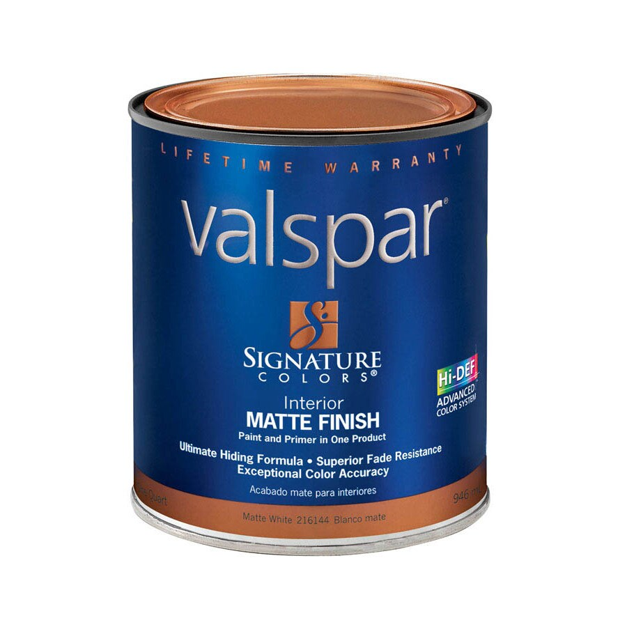 Valspar Signature Colors White Matte Latex Interior Paint and Primer in One (Actual Net Contents: 32-fl oz)