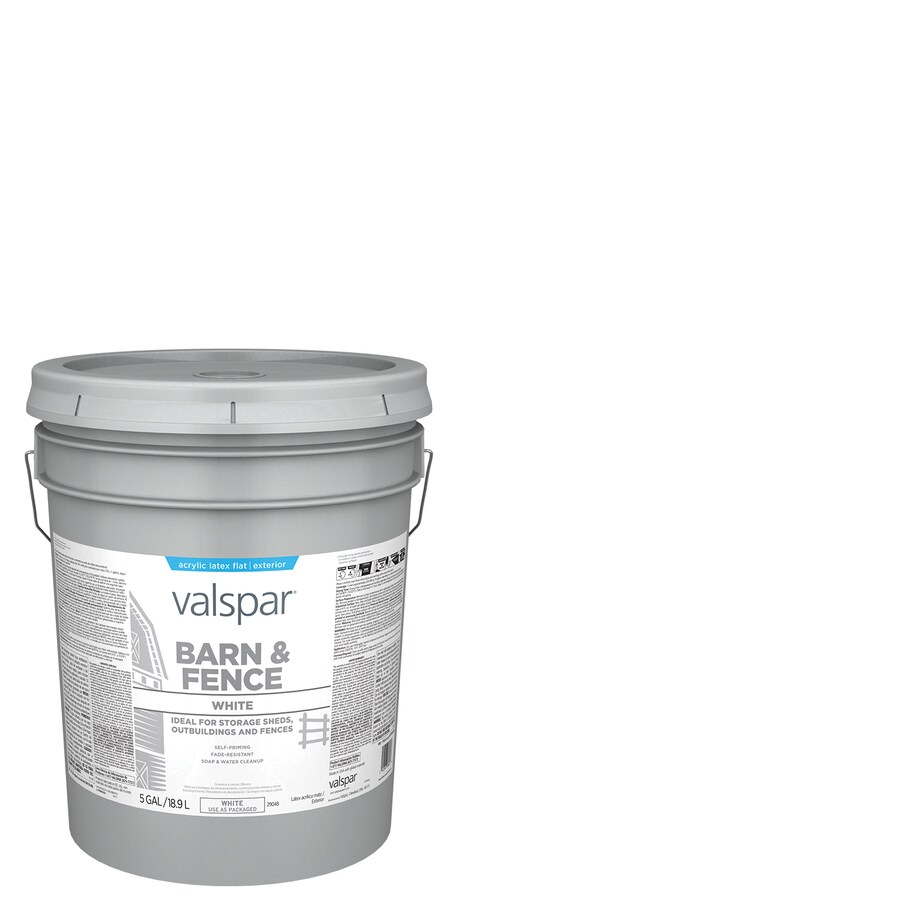 Valspar Barn and Fence White Flat Exterior Paint (Actual Net Contents: 640-fl oz)
