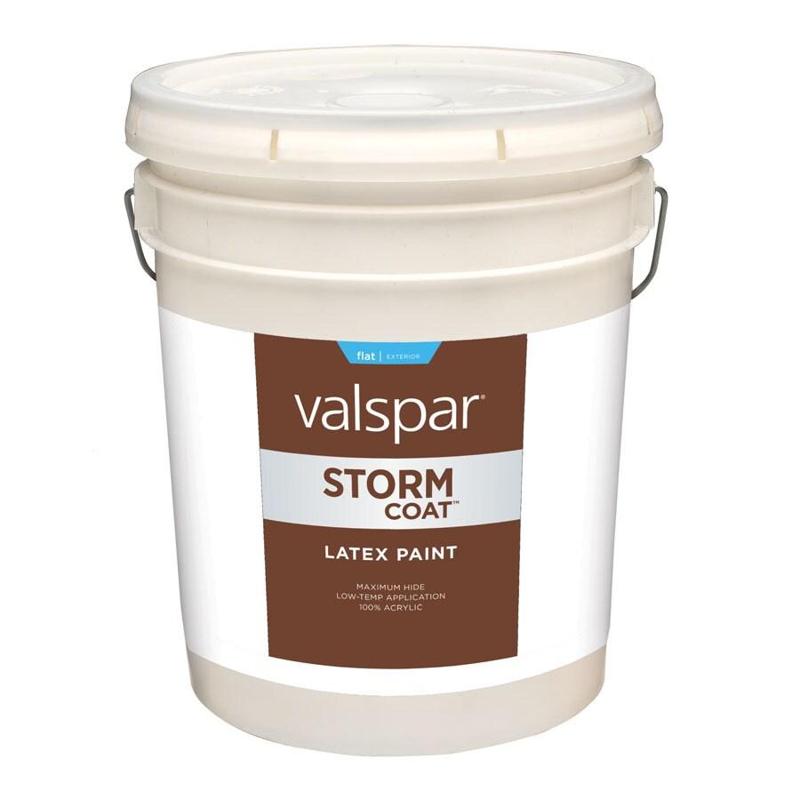 Valspar Storm Coat 5 Gallon Size Container Exterior Flat White Latex-Base Paint (Actual Net Contents: 640-fl oz)