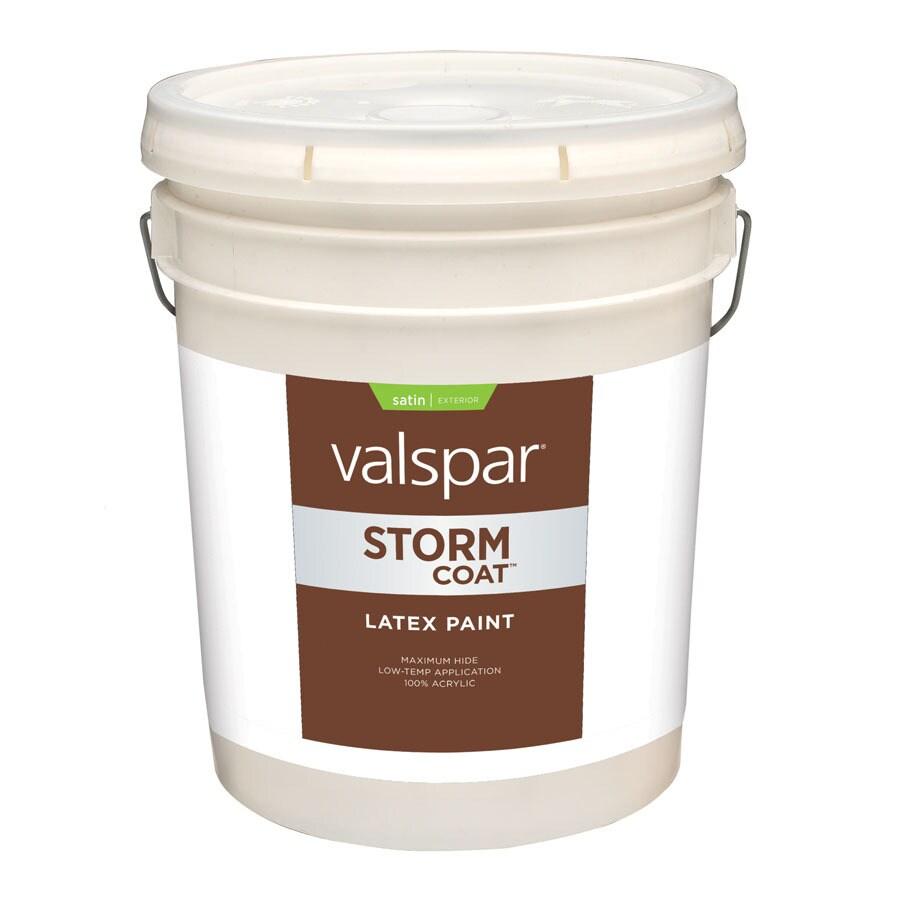 Shop Valspar Storm Coat 5 Gallon Size Container Exterior Satin White Latex Base Paint Actual