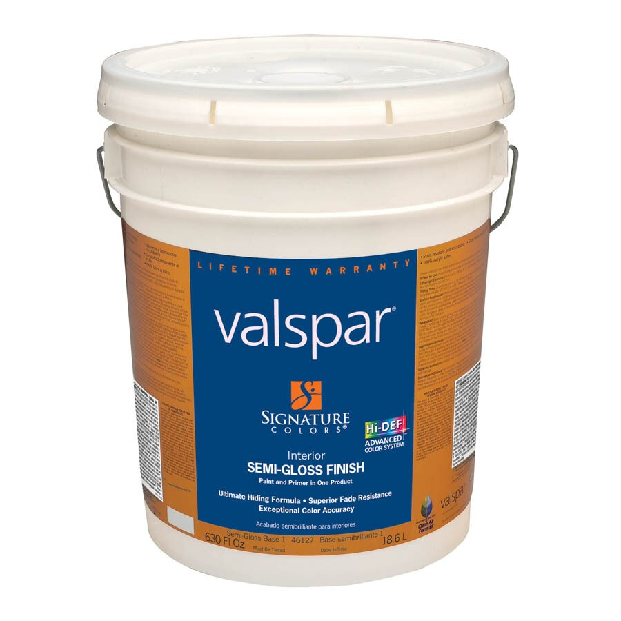Shop Valspar Signature Colors 5 Gallon Interior Semi Gloss Base 1 Latex Base Paint And Primer In