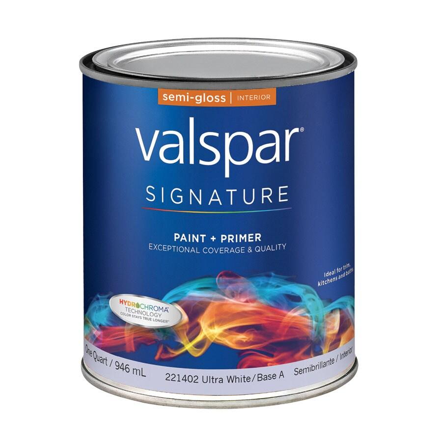 Valspar Signature White Semi-Gloss Latex Interior Paint and Primer in One (Actual Net Contents: 32-fl oz)