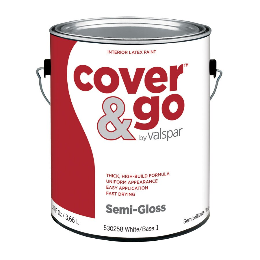 Valspar Cover and Go Gallon Size Container Interior Semi-Gloss Tintable White Latex-Base Paint (Actual Net Contents: 124-fl oz)