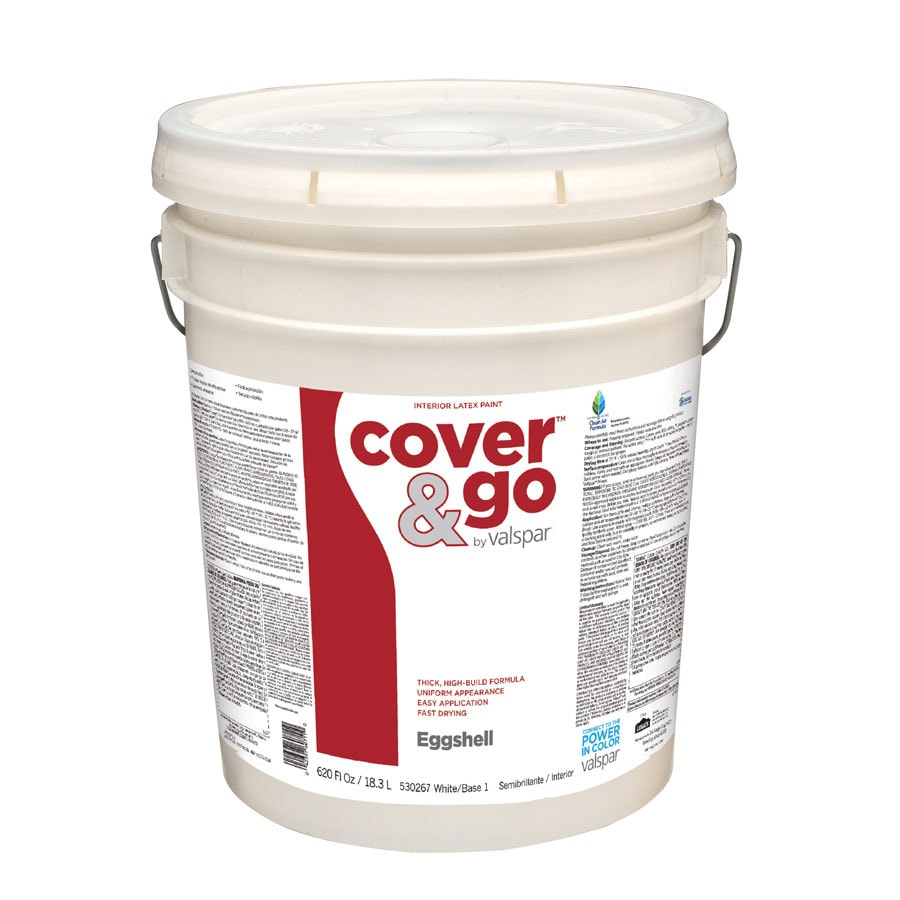 Valspar Cover and Go 5 Gallon Size Container Interior Eggshell Tintable White Latex-Base Paint (Actual Net Contents: 620-fl oz)