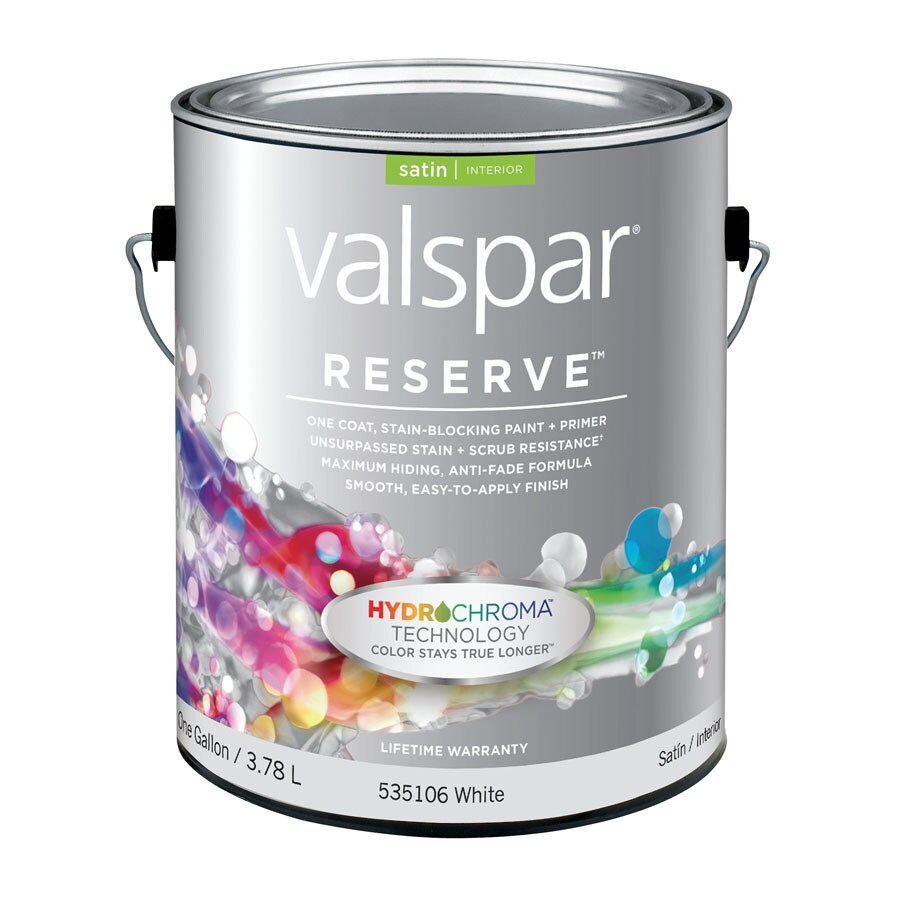 Valspar Reserve Gallon Size Container Interior Satin White Latex-Base Paint Paint and Primer In One (Actual Net Contents: 128 Fluid Oz.)