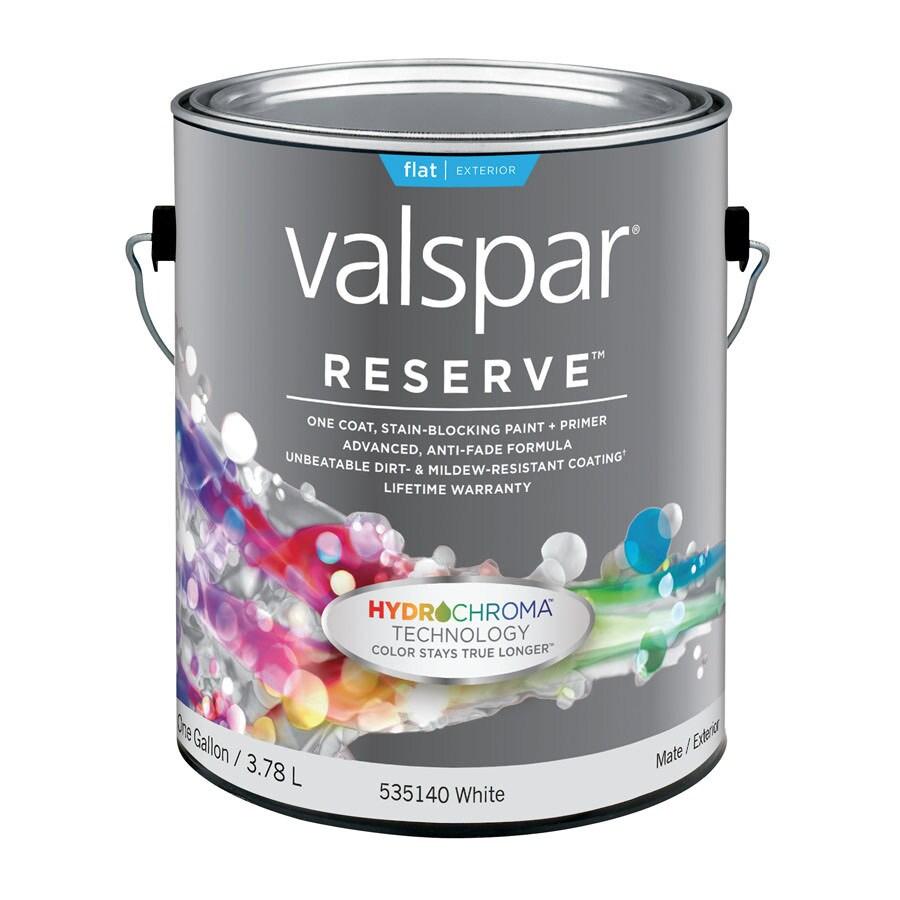Valspar Reserve Gallon Size Container Exterior Flat White Latex-Base Paint Paint and Primer In One (Actual Net Contents: 128 Fluid Oz.)