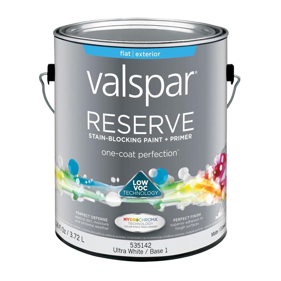 Valspar Reserve Ultra White/Base 1 Flat Exterior Paint (Actual Net Contents: 126-fl oz)