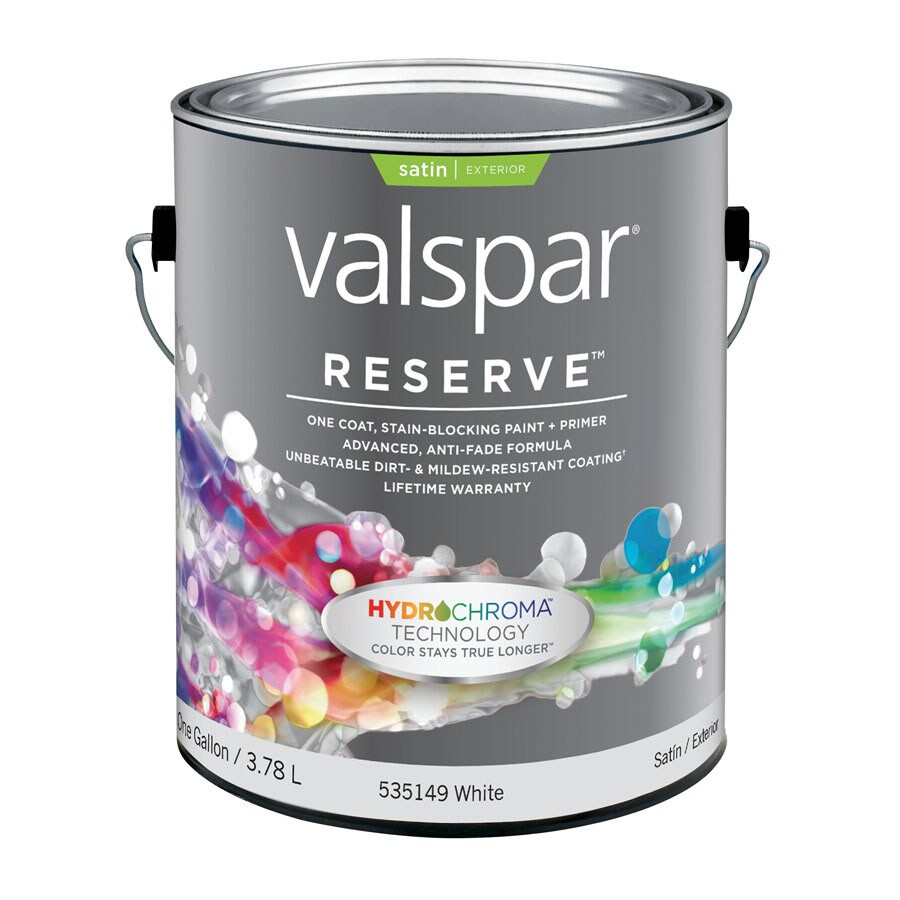 Valspar Reserve Gallon Size Container Exterior Satin White Latex-Base Paint Paint and Primer In One (Actual Net Contents: 128 Fluid Oz.)