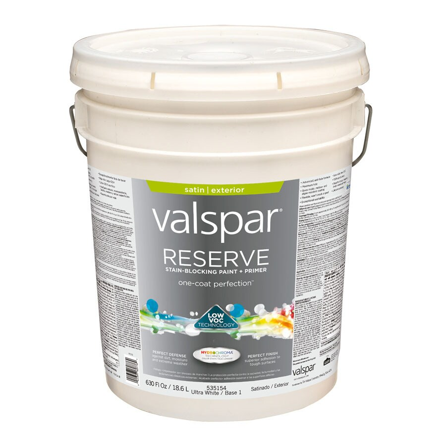 Valspar Reserve Ultra White/Base 1 Satin Exterior Paint (Actual Net Contents: 630-fl oz)