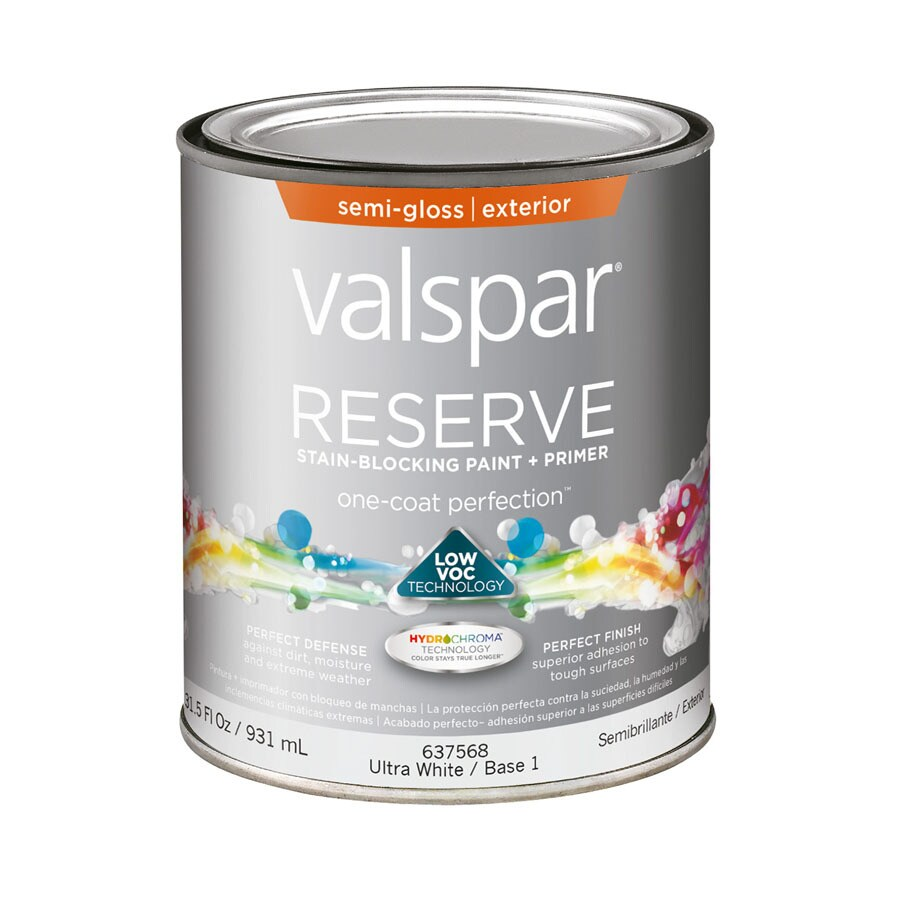 Shop valspar reserve semi gloss latex exterior paint actual net contents 31 5 fluid oz at - Exterior white gloss paint image ...