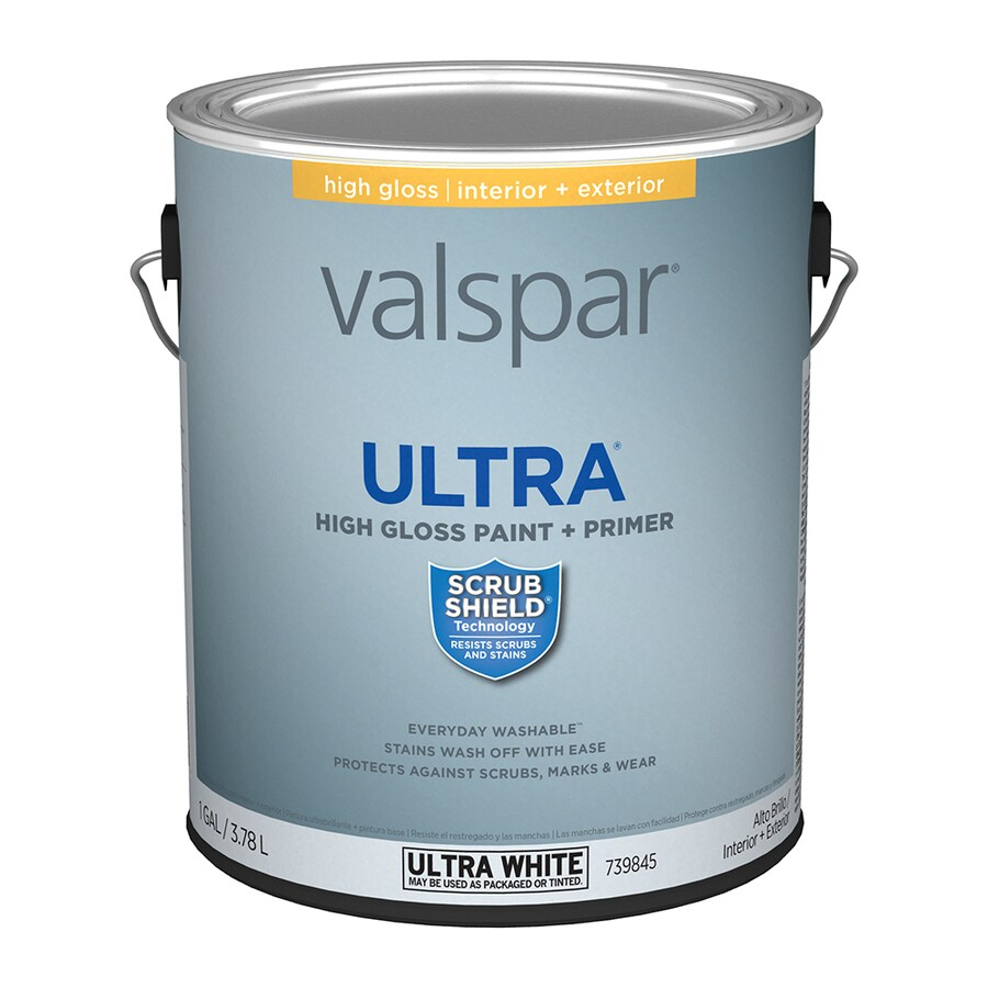 Valspar Gloss Latex Enamel Interior/Exterior Paint and Primer in One (Actual Net Contents: 128-fl oz)
