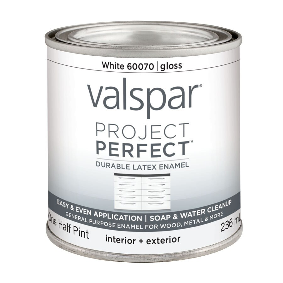 Valspar Project Perfect White Gloss Latex Enamel Interior/Exterior Paint (Actual Net Contents: 8-fl oz)