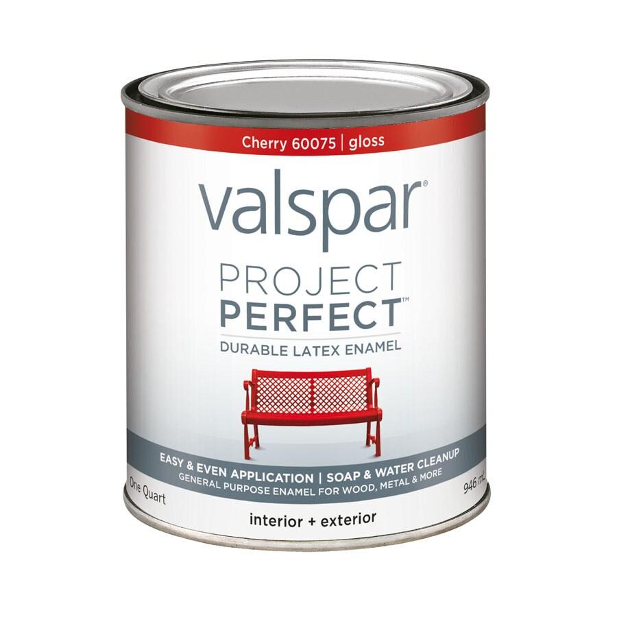 Valspar Project Perfect Cherry Gloss Latex Enamel Interior/Exterior Paint (Actual Net Contents: 32-fl oz)