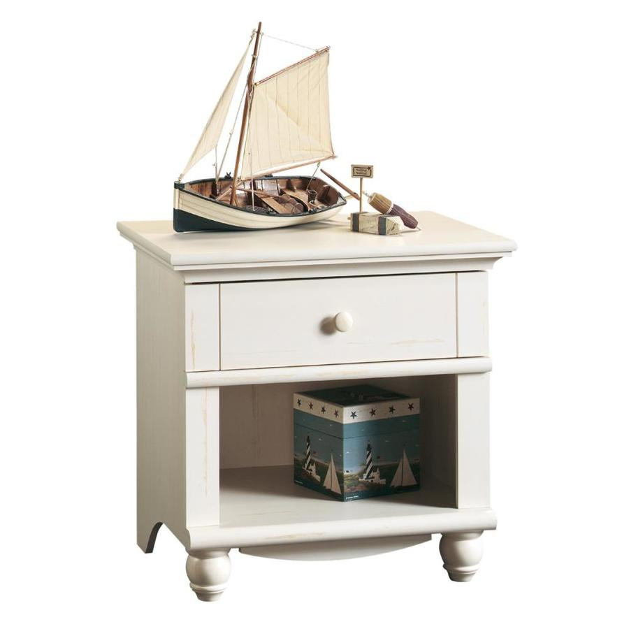 Sauder Harbor View Antiqued White Composite Nightstand