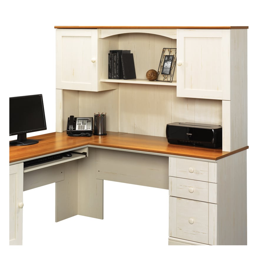 Shop sauder harbor view antiqued white l shaped desk at White l shaped desk