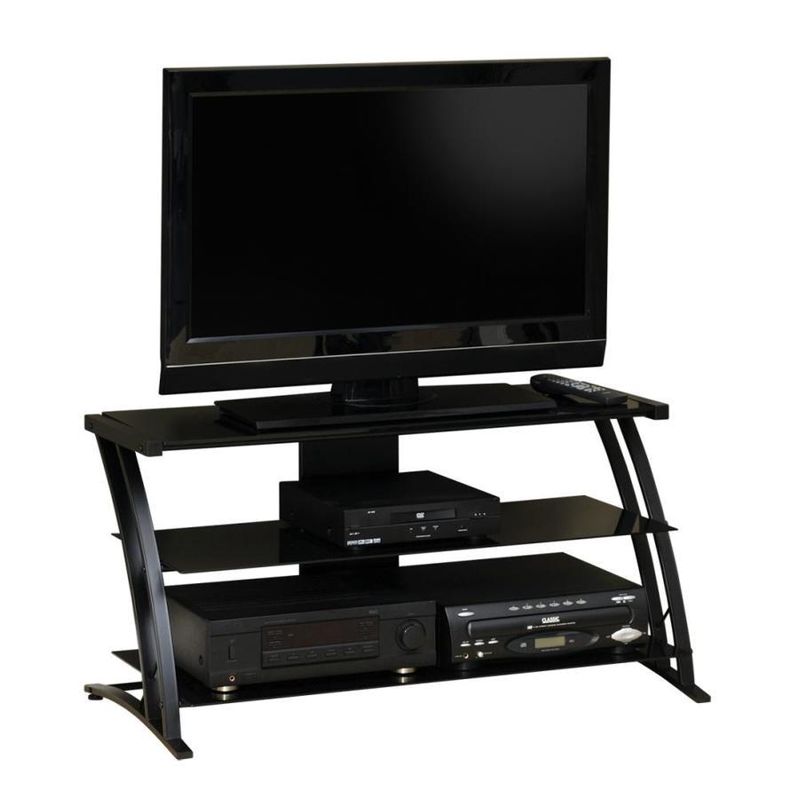 Sauder Deco Black Black Glass Rectangular Pedestal Television Stand