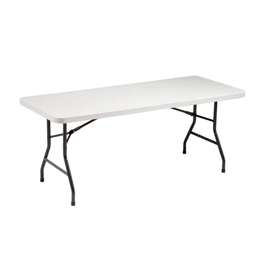 Style Selections 72-in x 30-in Rectangle Steel Mocha Folding Table