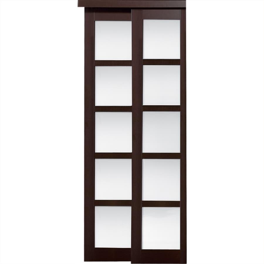 ReliaBilt 5-Lite Frosted Glass Sliding Closet Interior Door (Common: 60-in x 80-in; Actual: 60-in x 78.68-in)