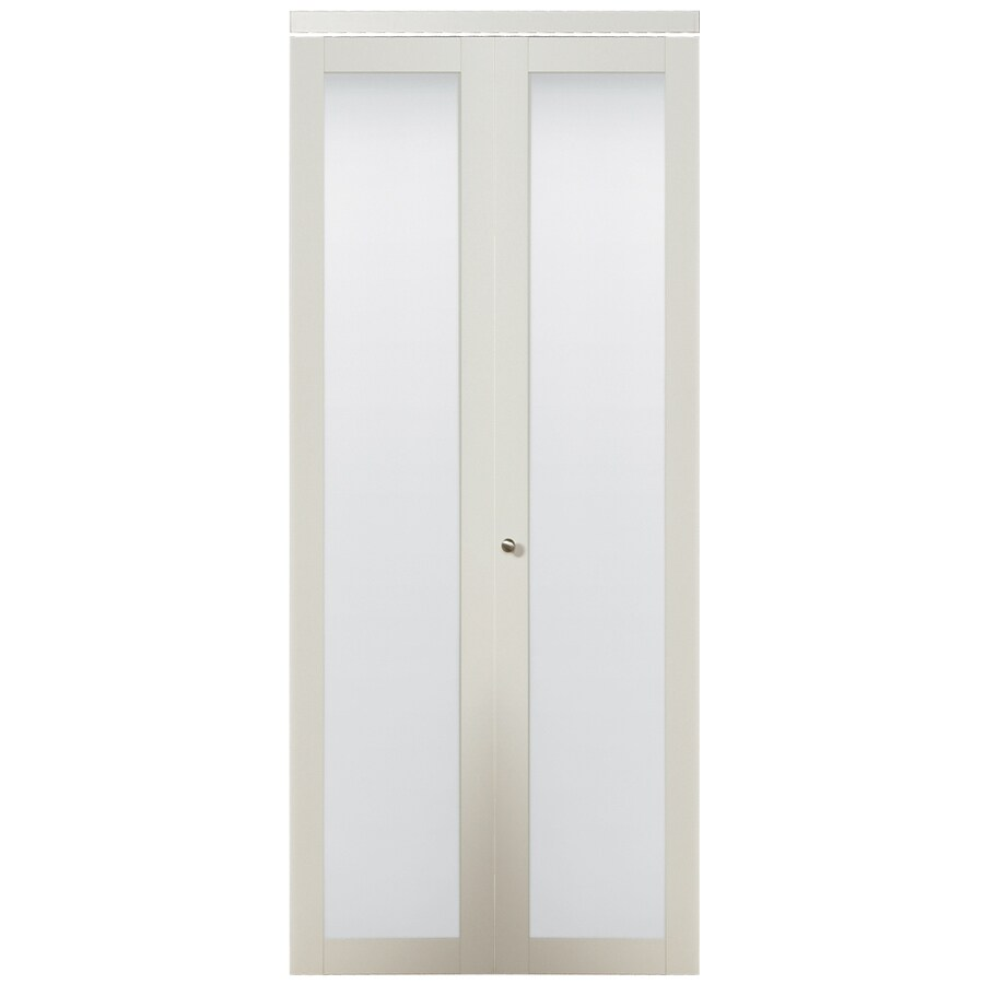 ReliaBilt White 1-Lite Solid Core Tempered Frosted Glass Bifold Closet Door (Common: 24-in x 80.5-in; Actual: 24-in x 80-in)