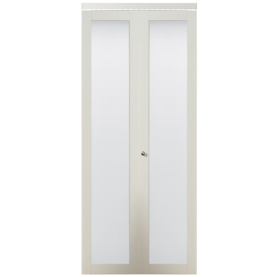 ReliaBilt White 1-Lite Solid Core Tempered Frosted Glass Bifold Closet Door (Common: 36-in x 80.5-in; Actual: 36-in x 80-in)