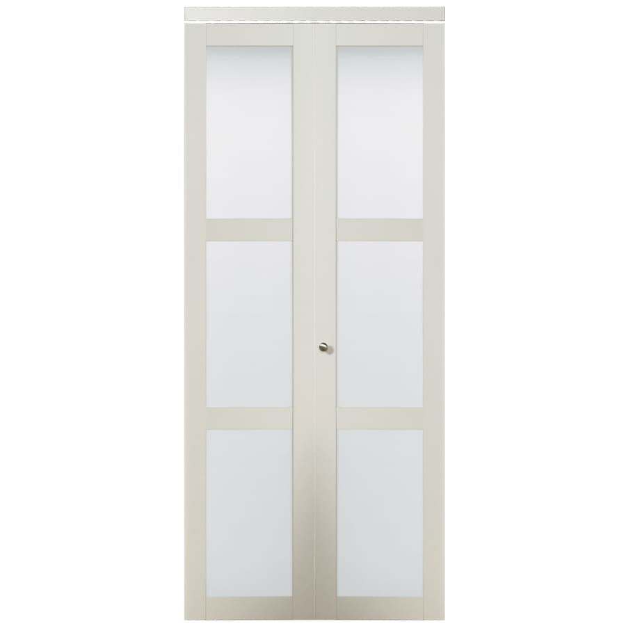 ReliaBilt White 3-Lite Solid Core Tempered Frosted Glass Bifold Closet Door (Common: 36-in x 80.5-in; Actual: 36-in x 80-in)