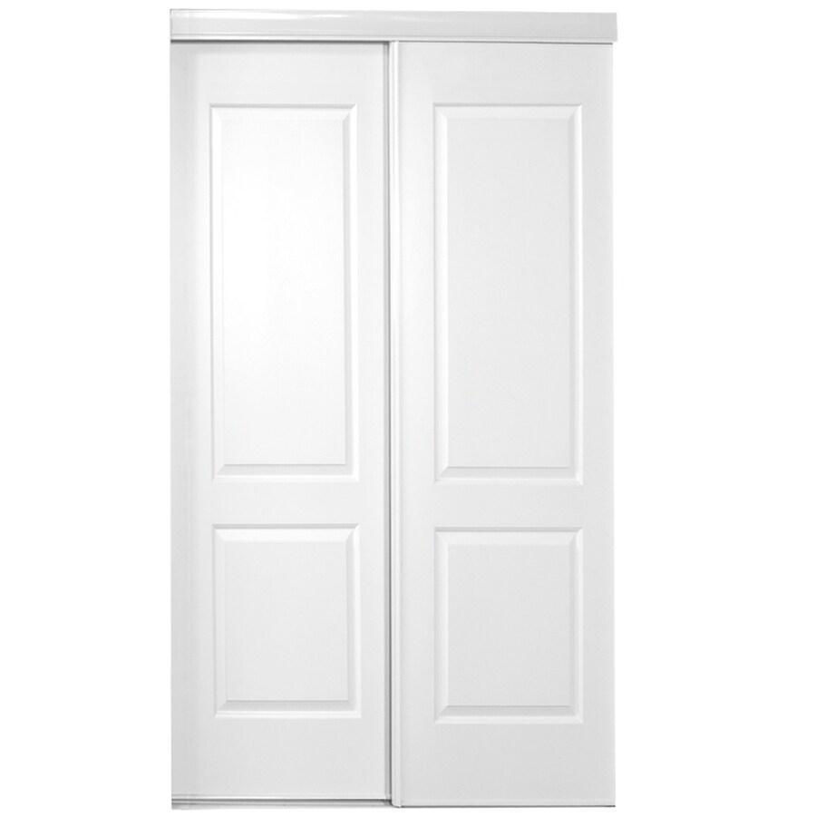 ReliaBilt White 2-Panel Square Sliding Closet Interior Door (Common: 72-in x 80-in; Actual: 72-in x 78-in)