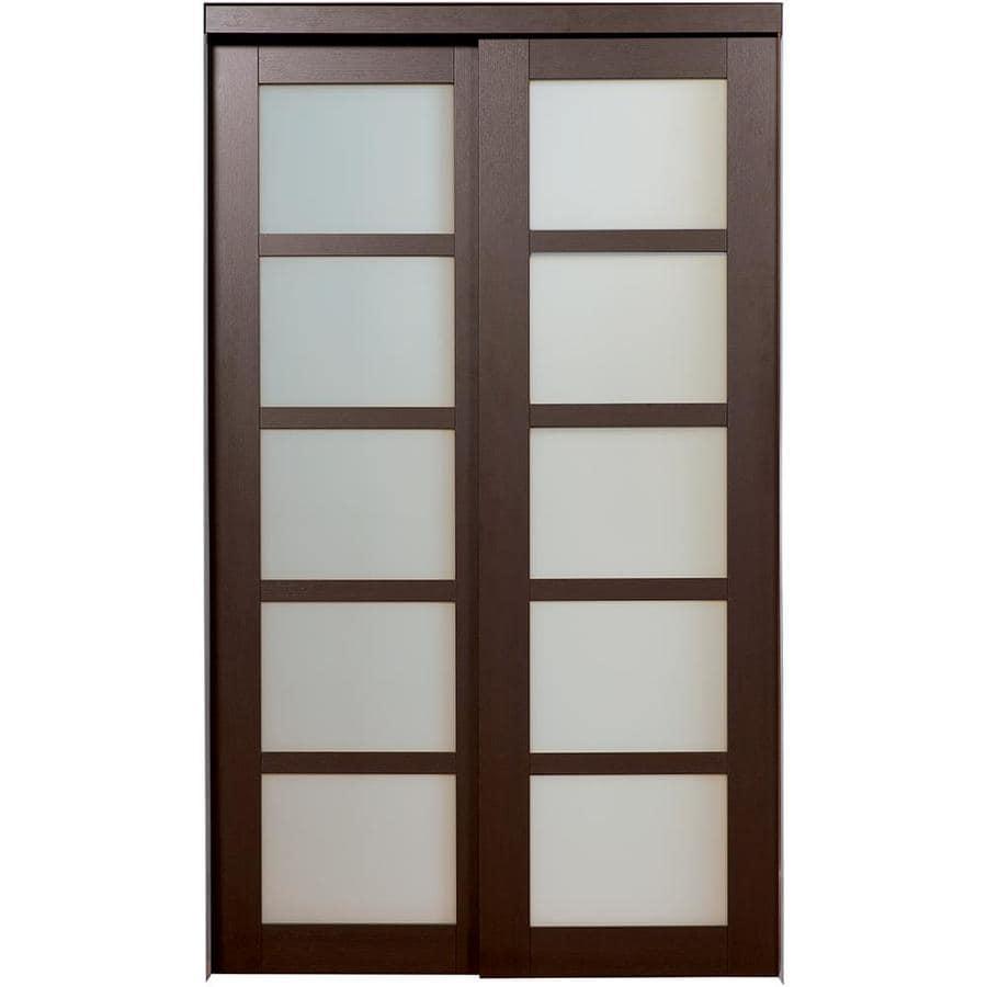 ReliaBilt 5-Lite Frosted Glass Sliding Closet Interior Door (Common: 60-in x 80-in; Actual: 60-in x 78.6875-in)