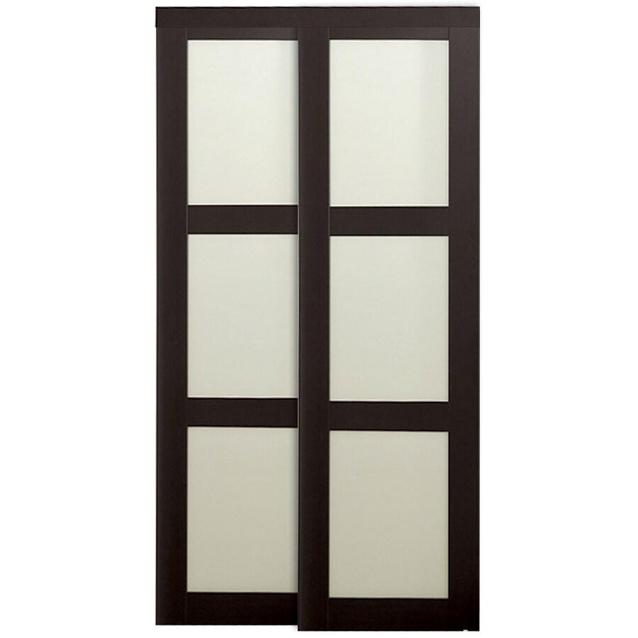 ReliaBilt Espresso 3-Lite Sliding Door (Common: 72-in x 80.5-in; Actual: 72-in x 80-in)