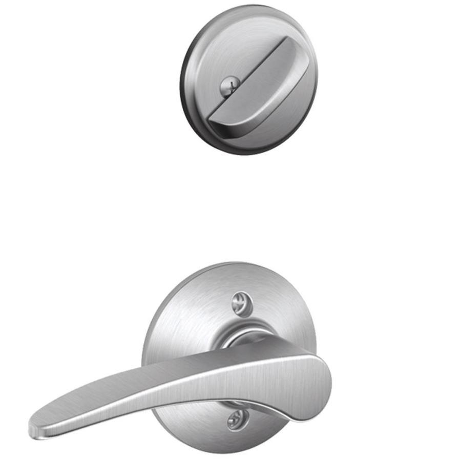 Schlage Manhattan 1-5/8-in to 1-3/4-in Satin Chrome Single Cylinder Lever Entry Door Interior Handle