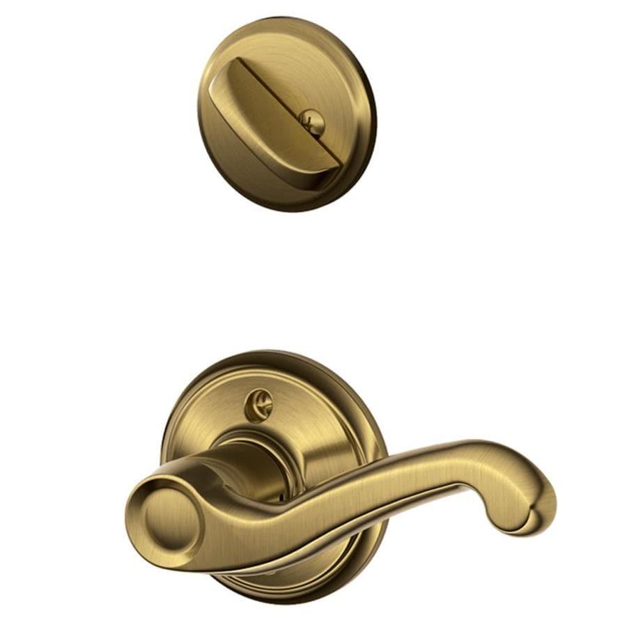 Schlage Flair 1-5/8-in to 1-3/4-in Antique Brass Single Cylinder Lever Entry Door Interior Handle