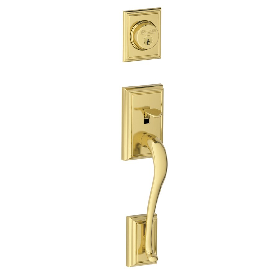 Shop Schlage Addison Adjustable Bright Brass Entry Door Exterior Handle At Lo