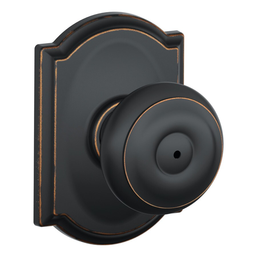 Schlage F Decorative Camelot Collections Georgian Aged Bronze Round Push-Button Lock Privacy Door Knob