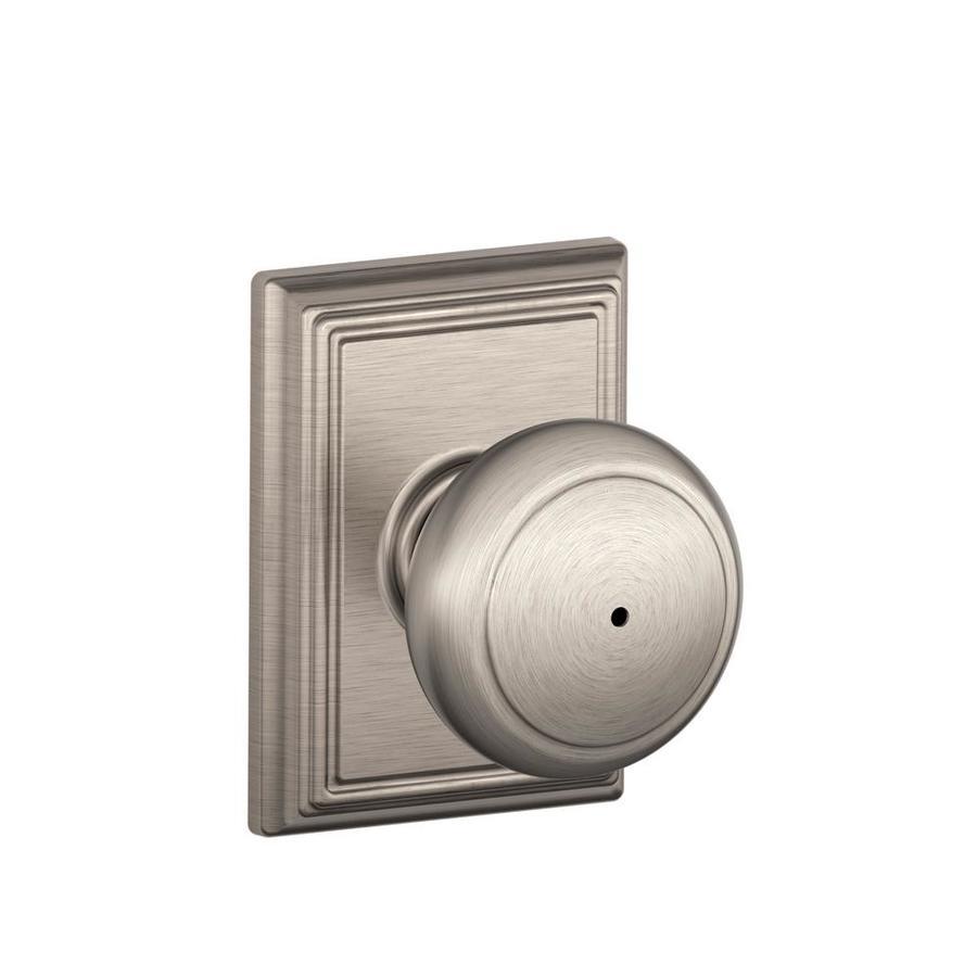 Schlage F Decorative Addison Collections Andover Satin Nickel Round Push-Button Lock Privacy Door Knob