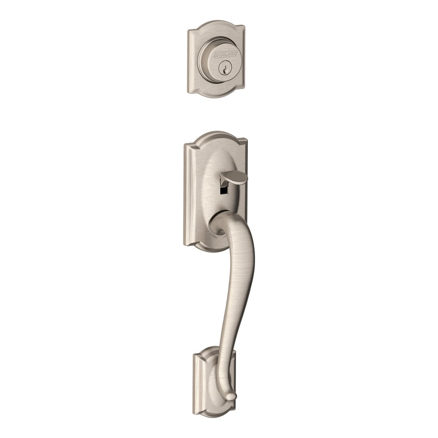 Shop Schlage Camelot Adjustable Satin Nickel Entry Door