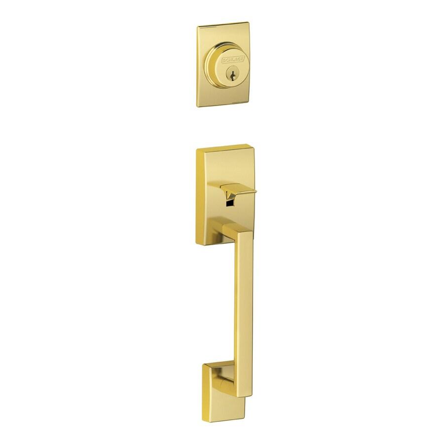 Schlage Century Adjustable Lifetime Bright Brass Entry Door Exterior Handle