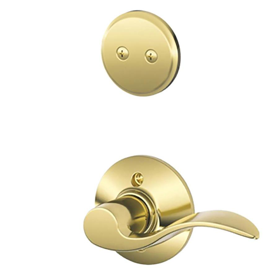 Schlage Accent 1-5/8-in to 1-3/4-in Bright Brass Non-Keyed Lever Entry Door Interior Handle