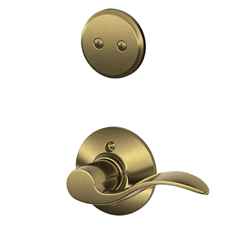 Schlage Accent 1-5/8-in to 1-3/4-in Antique Brass Non-Keyed Lever Entry Door Interior Handle