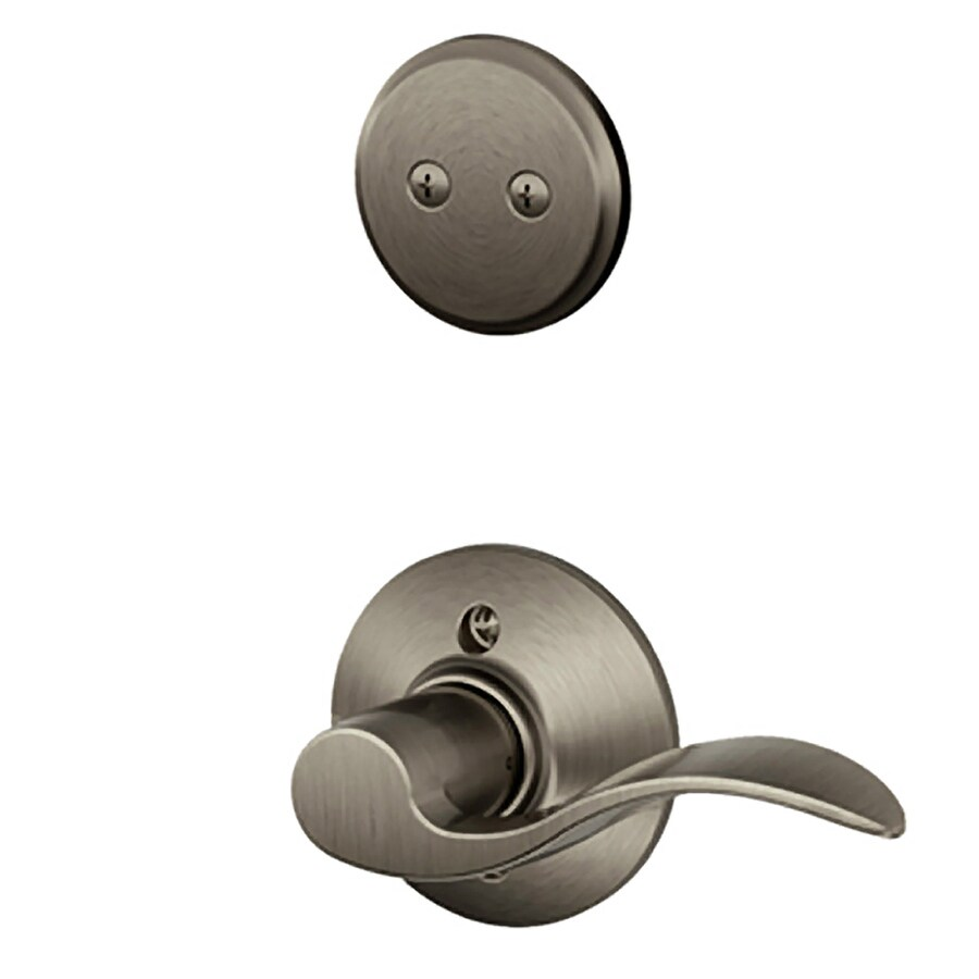 Schlage Accent 1-5/8-in to 1-3/4-in Antique Pewter Non-Keyed Lever Entry Door Interior Handle