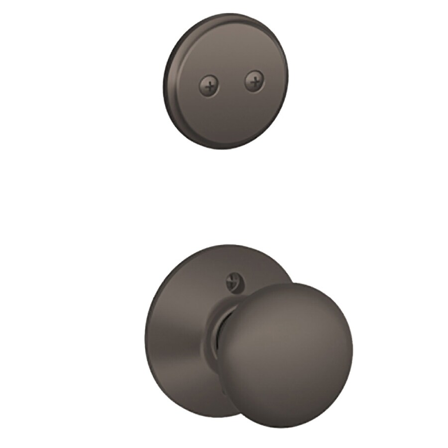 Schlage Plymouth 1-5/8-in to 1-3/4-in Oil-Rubbed Bronze Non-Keyed Knob Entry Door Interior Handle